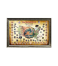 MLB® New York Mets Baseball Parks Map Collage with Game Used Dirt