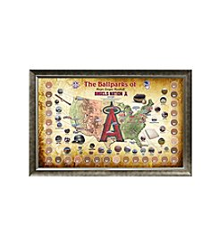 MLB® Los Angeles Angels Baseball Parks Map Collage with Game Used Dirt
