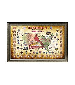 MLB® St. Louis Cardinals Baseball Parks Map Collage with Game Used Dirt