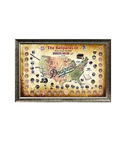 MLB® Los Angeles Dodgers Baseball Parks Map Collage with Game Used Dirt