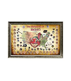 MLB® Cleveland Indians Baseball Parks Map Collage with Game Used Dirt