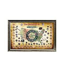 MLB® Seattle Mariners Baseball Parks Map Collage with Game Used Dirt