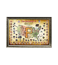 MLB® Pittsburgh Pirates Baseball Parks Map Collage with Game Used Dirt