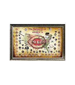 MLB® Cincinnati Reds Baseball Parks Map Collage with Game Used Dirt