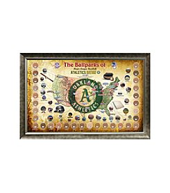 MLB® Oakland Athletics Baseball Parks Map Collage with Game Used Dirt