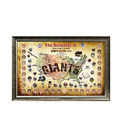 MLB® San Francisco Giants Baseball Parks Map Collage with Game Used Dirt