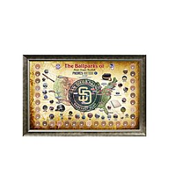 MLB® San Diego Padres Baseball Parks Map Collage with Game Used Dirt