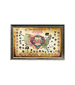 MLB® Philadelphia Phillies Baseball Parks Map Collage with Game Used Dirt