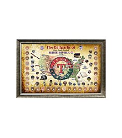 MLB® Texas Rangers Baseball Parks Map Collage with Game Used Dirt