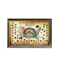 MLB® Colorado Rockies Baseball Parks Map Collage with Game Used Dirt