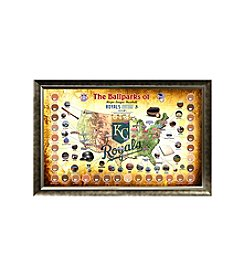 MLB® Kansas City Royals Baseball Parks Map Collage with Game Used Dirt