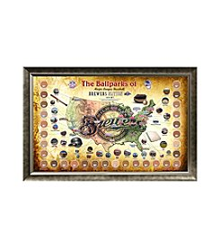 MLB® Milwaukee Brewers Baseball Parks Map Collage with Game Used Dirt