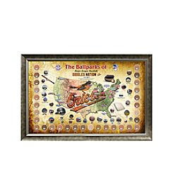 MLB® Baltimore Orioles Baseball Parks Map Collage with Game Used Dirt