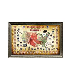 MLB® Boston Red Sox Baseball Parks Map Collage with Game Used Dirt