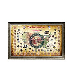 MLB® Minnesota Twins Baseball Parks Map Collage with Game Used Dirt