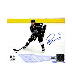 Drew Doughty Signed Los Angeles Kings Skating by 2014 Stanley Cup Logo on Ice 8