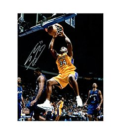 Shaquille O'Neal Signed Lakers Two Handed Dunk in Gold 16