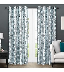 Exclusive Home Trike Geometric Thermal Grommet Window Curtain