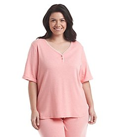 KN Karen Neuburger Plus Size Henley Lounge Top