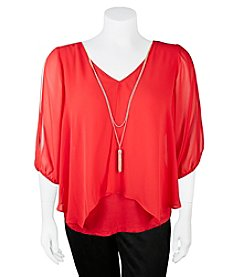 A. Byer Plus Size Split Necklace Top
