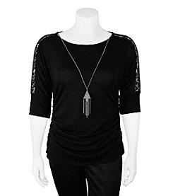 A. Byer Plus Size Lace Necklace Top
