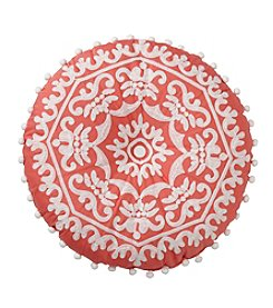 Jessica Simpson Spice Market Round Crewel Embroidered Decorative Pillow