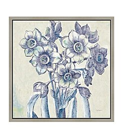 Greenleaf Art Blue Flowers IV Framed Canvas Art