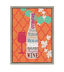 Greenleaf Art Wine on Orange Framed Canvas Art