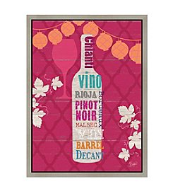 Greenleaf Art Wine on Pink Framed Canvas Art