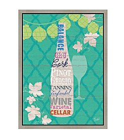 Greenleaf Art Wine on Green Framed Canvas Art