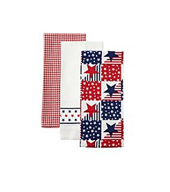 LivingQuarters Stars and Stripes 3-pk. Kitchen Towels