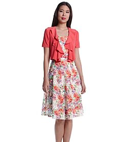 R&M Richards® Belted Floral Jacket Dress