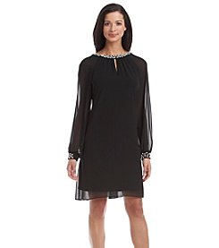 S.L. Fashions Pearl Accented Shift Dress