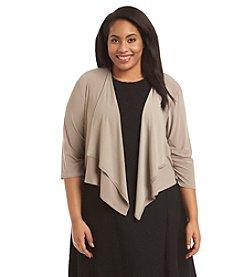 R&M Richards® Plus Size Draped Collar Sequin Lace Jacket