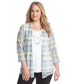 Alfred Dunner® Plus Size Crystal Springs Zig Zag Layered Look Jacket
