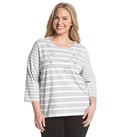 Alfred Dunner® Plus Size Crystal Springs Stripe Embellished Knit Top