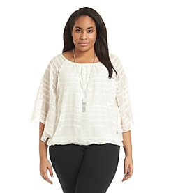 AGB® Plus Size Grid Woven Bubble Hem Top