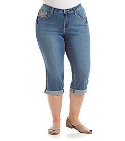 Earl Jean® Plus Size Swirl Bling Flap Pocket Capri