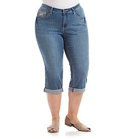 Earl Jean® Plus Size Swirl Bling Flap Pocket Capri