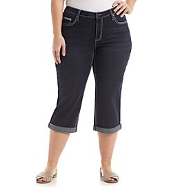 Earl Jean® Plus Size Embroidered Back Pocket Capri
