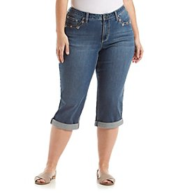 Earl Jean® Plus Size Embellished Flap Pocket Capri