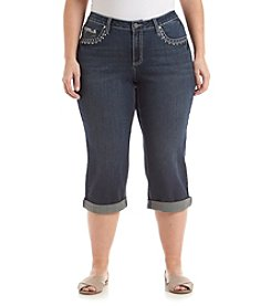 Earl Jean® Plus Size Embellished Patch Pocket Capri