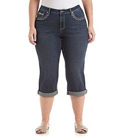 Earl Jean® Plus Size Embellished Patch Pocket Capri