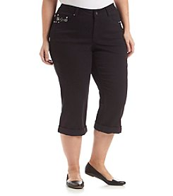 Earl Jean® Plus Size Bling Loop Capri