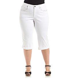 Earl Jean® Plus Size Lace Trim Pocket Capri