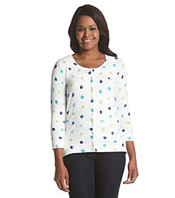 Studio Works® Petites' Quarter Dot Button Front Cardigan