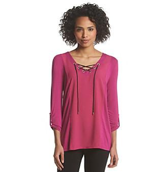 August Silk® Lace-Up V-Neck Top plus size,  plus size fashion plus size appare