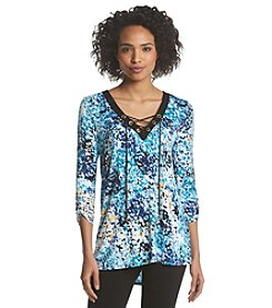 August Silk® Printed V-Neck Tunic