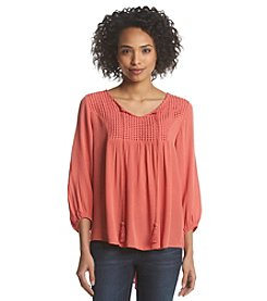 Oneworld® Gauze Peasant Top