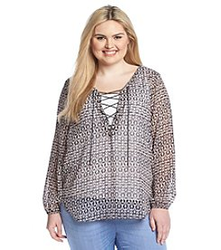 Jessica Simpson Plus Size Printed Peasant Top